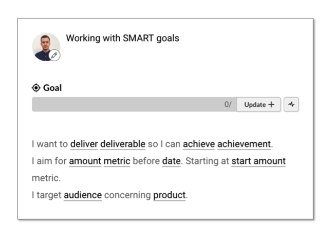 Working with smart goals template