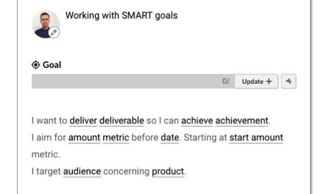 working with smart goals template boardview